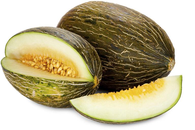 Piel de Sapo melons whole and sliced